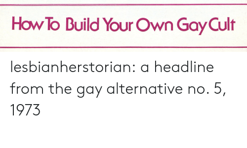build your own: How To Build Your Own Gay Cult lesbianherstorian:  a headline from the gay alternative no. 5, 1973