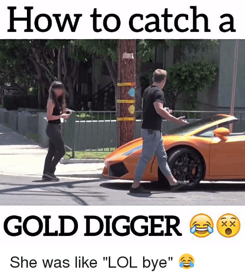 """gold digger: How to catch a  GOLD DIGGER She was like """"LOL bye"""" 😂"""