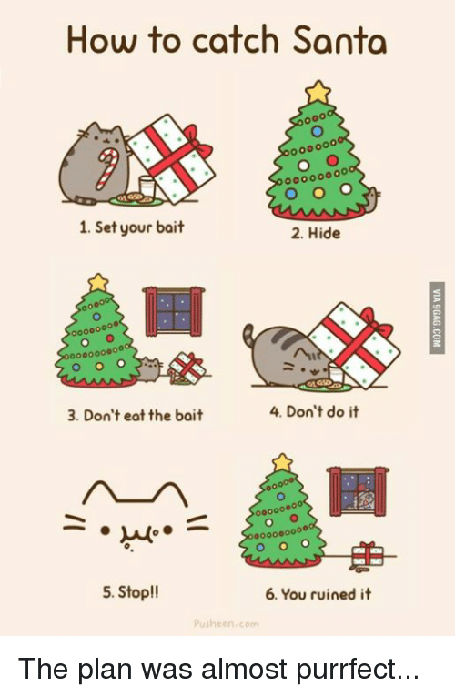Dank, 🤖, and Pusheen: How to catch Santa  1. Set your bait  2. Hide  4. Don't do it  3. Don't eat the bait  00000  000000000  5. Stop!!  6. You ruined it  Pusheen com The plan was almost purrfect...