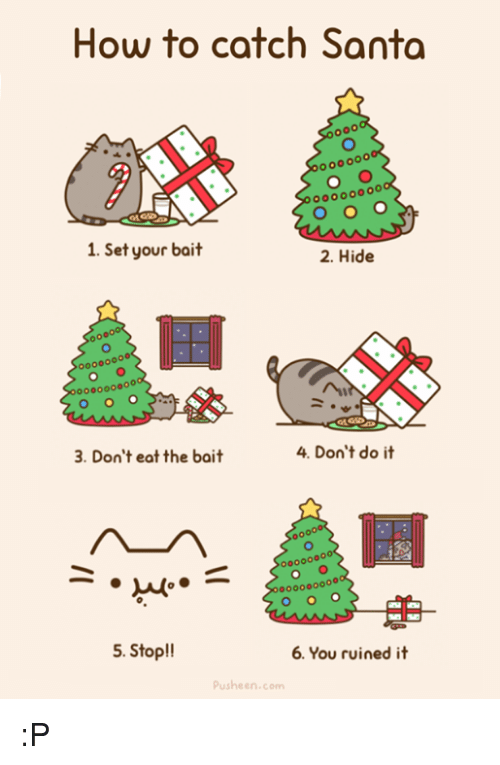 Memes, How To, and Santa: How to catch Santa  oo0000  1. Set your bait  2. Hide  000000ooo  3. Don't eat the bait  4. Don't do it  o000000  5. Stop!!  6. You ruined it  Pusheen.com :P