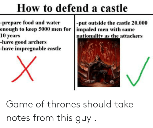 archers: How to defend a castle  -prepare food and water  enough to keep 5000 men for impaled men with same  10 years  -have good archers  -have impregnable castle  -put outside the castle 20.000  nationality as the attackers Game of thrones should take notes from this guy .