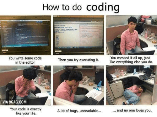 editor: How to do coding  sniamaRMA  You messed it all up, just  like everything else you do.  You write some code  in the editor  Then you try executing it.  VIA 9GAG.COM  Your code is exactly  like your life  ... and no one loves you.  A lot of bugs, unreadable...