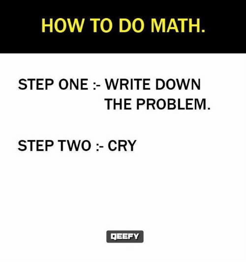 writing down: HOW TO DO MATH.  STEP ONE :- WRITE DOWN  THE PROBLEM  STEP TWO:- CRY  MEEFY