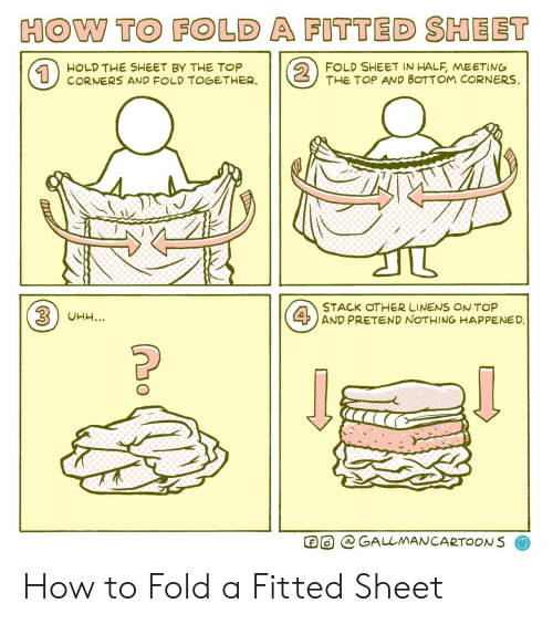 How To, How, and Top: HOW TO FOLD A FITTED SHEET  2  FOLD SHEET IN HALF, MEETING  THE TOP AND BOTTOM CORNERS  HOLD THE SHEET BY THE TOP  CORNERS AND FOLD TOGETHER  1  STACK OTHER LINENS ONTOP  4AND PRETEND NOTHING HAPPENED.  3UHH...  GALLMANCARTOONS How to Fold a Fitted Sheet