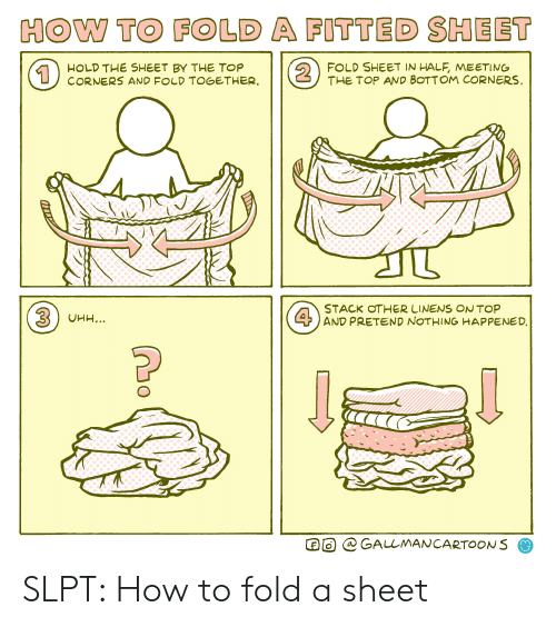 fold a fitted sheet: HOW TO FOLD A FITTED SHEET  2  FOLD SHEET IN HALF, MEETING  THE TOP AND BOTTOM CORNERS  HOLD THE SHEET BY THE TOP  CORNERS AND FOLD TOGETHER.  1  STACK OTHER LINENS ON TOP  4AND PRETEND NOTHING HAPPENED  3UHH...  @ GALLMANCARTOONS SLPT: How to fold a sheet