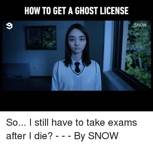Dank, Ghost, and How To: HOW TO GET A GHOST LICENSIE  SNOW So... I still have to take exams after I die? - - - By SNOW