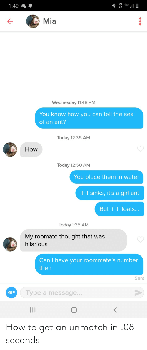 seconds: How to get an unmatch in .08 seconds