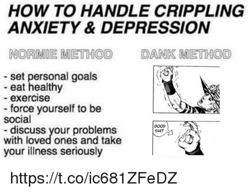 Dank, Goals, and Anxiety: HOW TO HANDLE CRIPPLING  ANXIETY & DEPRESSION  NORMIE METHOD  DANK METHOD  set personal goals  eat healthy  - exercise  force yourself to be  social  GOOD  SHIT  discuss your problems  with loved ones and take  your illness seriously https://t.co/ic681ZFeDZ