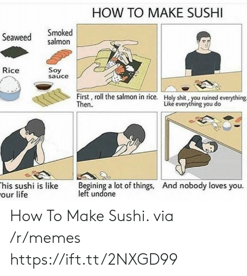 begining: HOW TO MAKE SUSHI  Seaweed salmon  Smoked  Rice  Soy  sauce  First, roll the salmon in rice.  Then.  Holy shit, you ruined everything  Liké everything you do  his sushi is like Begining a lot of things, And nobody loves you.  our life  left undone How To Make Sushi. via /r/memes https://ift.tt/2NXGD99
