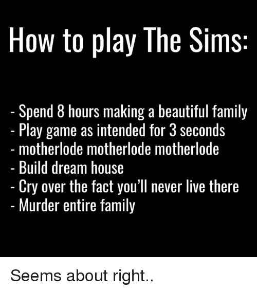 the sim: How to play The Sims  Spend 8 hours making a beautiful family  Play game as intended for 3 seconds  motherlode motherlode motherlode  Build dream house  Cry over the fact you'll never live there  Murder entire family Seems about right..