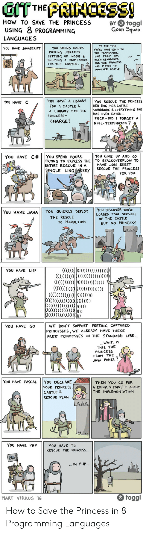 skeet: How TO SAVE THE PRINCESS BYtoggl  USING 8 PROGRAMMING  Goon 5quac  LANGUAGES  BY THE TIME  You SPEND HOURS  PICKING LIBRARIES,  YOU HAVE JAVASCRIPT  YoU'RE FINISHED WITH  THE FRAME WORK,  SETTING UP NODE & THE FORT HAS  BUILDING A FRAME WORK BEEN ABANDONED  AND THE PRINCESS  HAS MoVED To  ANOTHER CASTLE  FOR THE CASTLE  YoU HAVE C  YOU HAVE A LIBRARY YoU RESCUE THE PRINCESS  FOR A CASTLE &  A LIBRARY FOR THE WARDROBE & EVERYTHING SHE  HER DOG, HER ENTIRE  HAS EVER EATEN..  FUCK DID I FORGET A  NULL-TERMINATOR  PRINCESs-  CHARGE!  YOU GIVE UP AND GO  TRYING TO EXPRESS THE TO STACKOVERFLOw To  YOU HAVE C#| | You SPEND HOURS  ENTIRE RESCUE IN A  HAVE JON SKEET  NGLE LINQ DERY RESCUE THE PRINCESS  FOR YOU  You HAVE JAVA YOU QUICKLY DEPLOY YOU DISCOVER YOUVE  LOADED TWO VERSIONS  THE RESCUE  OF THE CASTLE  TO PRODUCTION  BUT NO PRINCESS  YOU HAVE LISP  YoU HAvE GOWE DON'T SUPPORT FREEING CAPTURED  PRINCESSES, WE ALREADY HAVE THESIE  FREE PRINCESSES IN THE STANDARD LIBR.  WAIT, IS  THIS THE  PRINCESS  FROM THE  JAVA PANEL?  YoU HAVE PASCAL YOU DECLARE  YOUR PRINCESS  CASTLE &  RESCUE PLAN  THEN YOU GO FOR  A DRINK & FORGET ABOUT  THE IMPLEMENTATION  You HAVE PHP  YOU HAVE TO  RESCUE THE PRINCESS...  IN PHP  MART VIRKUS 16  togg How to Save the Princess in 8 Programming Languages