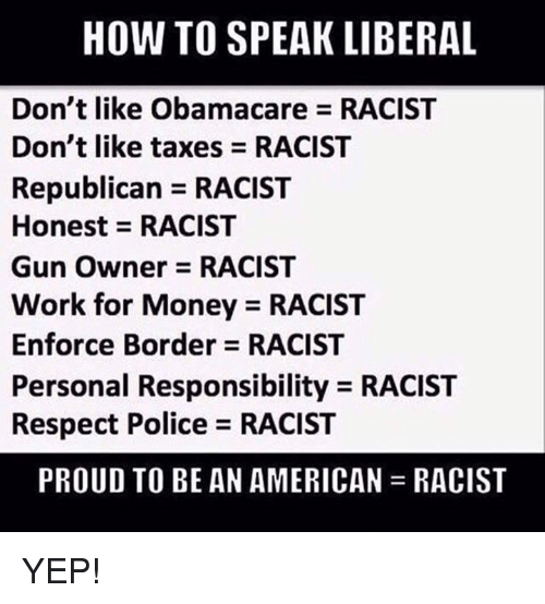 Personal Responsibility: HOW TO SPEAK LIBERAL  Don't like Obamacare RACIST  Don't like taxes RACIST  Republican RACIST  Honest RACIST  Gun Owner RACIST  Work for Money RACIST  Enforce Border RACIST  Personal Responsibility RACIST  Respect Police RACIST  PROUD TO BE AN AMERICAN RACIST YEP!
