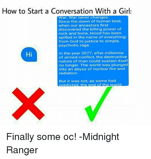 Great way to start a conversation with a girl