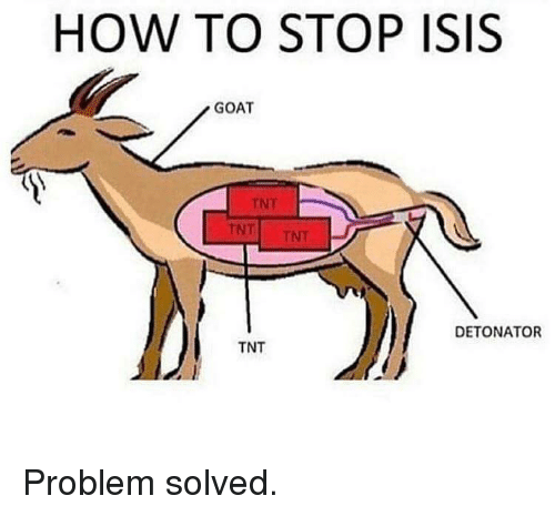 Isis, Memes, and Goat: HOW TO STOP ISIS  GOAT  DETONATOR  TNT Problem solved.