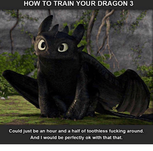 how to train your dragons: HOW TO TRAIN YOUR DRAGON 3  Could just be an hour and a half of toothless fucking around.  And I would be perfectly ok with that that.