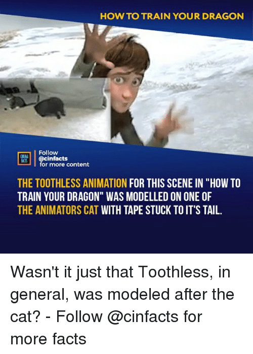 "Animators: HOW TO TRAIN YOUR DRAGON  Follow  HEAL  cinfacts  for more content  THE TOOTHLESS ANIMATION FOR THIS SCENE IN ""HOW TO  TRAIN YOUR DRAGON"" WAS MODELLED ON ONE OF  THE ANIMATORS CAT WITH TAPE STUCK TO IT'S TAIL. Wasn't it just that Toothless, in general, was modeled after the cat?⠀ -⠀ Follow @cinfacts for more facts"