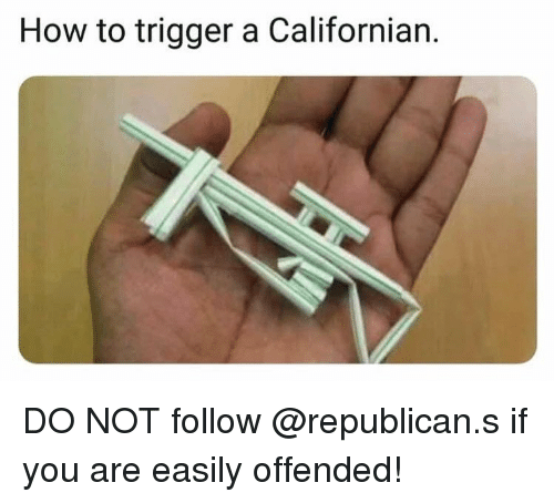 Memes, How To, and Californian: How to trigger a Californian. DO NOT follow @republican.s if you are easily offended!