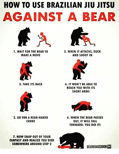 Fall, Memes, and Bear: HOW TO USE BRAZILIAN JIU JITSU  AGAINST A BEAR  1. WAIT FOR THE BEAR TO  MAKE A MOVE  2. WHEN IT ATTACKS, DUCK  AND SHOOT IN  3. TAKE ITS BACK  4. IT WON'T BE ABLE TO  REACH YOU WITH ITS  SHORT ARMS  5. GO FOR A REAR-NAKED  CHOKE  6, WHEN THE BEAR PASSES  OUT, IT WILL FALL  FORWARD. YOU DID ITI  7. NOW SNAP OUT OF YOUR  FANTASY AND REALIZE YOU DIED  SOMEWHERE AROUND STEP2  BEARMAGEDDONE