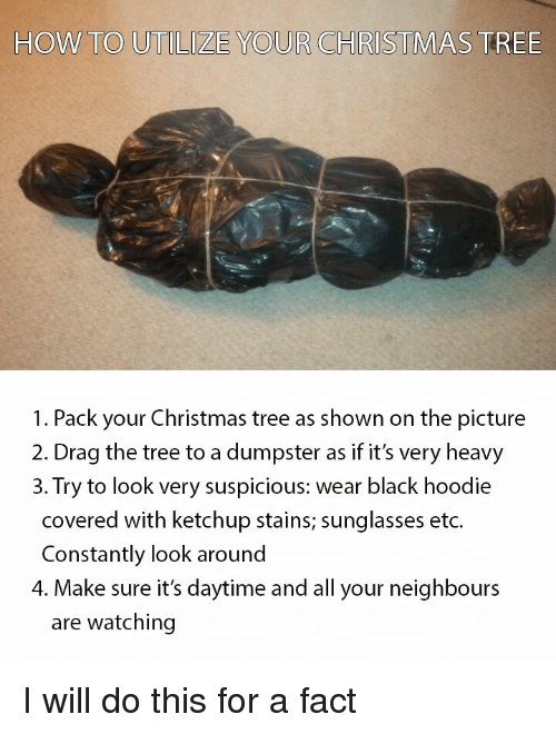 Christmas, Funny, and Black: HOW TO UTILIZE YOUR CHRIS  TMAS TREE  1. Pack your Christmas tree as shown on the picture  2. Drag the tree to a dumpster as if it's very heavy  3. Try to look very suspicious: wear black hoodie  covered with ketchup stains; sunglasses etc.  Constantly look around  4. Make sure it's daytime and all your neighbours  are watching
