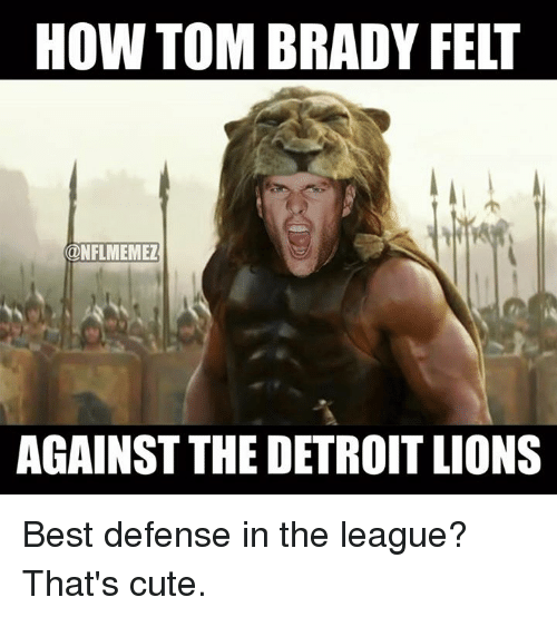 Detroit Lions: HOW TOM BRADY FELT  ONFLMEMEZ  AGAINST THE DETROIT LIONS Best defense in the league? That's cute.