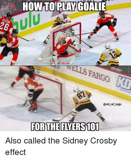 National Hockey League (NHL): HOW TOPLAY GOALIE  ulu  28  WELLS FARGO  @nhl ref_logic  FOR THE FLYERS 101 Also called the Sidney Crosby effect