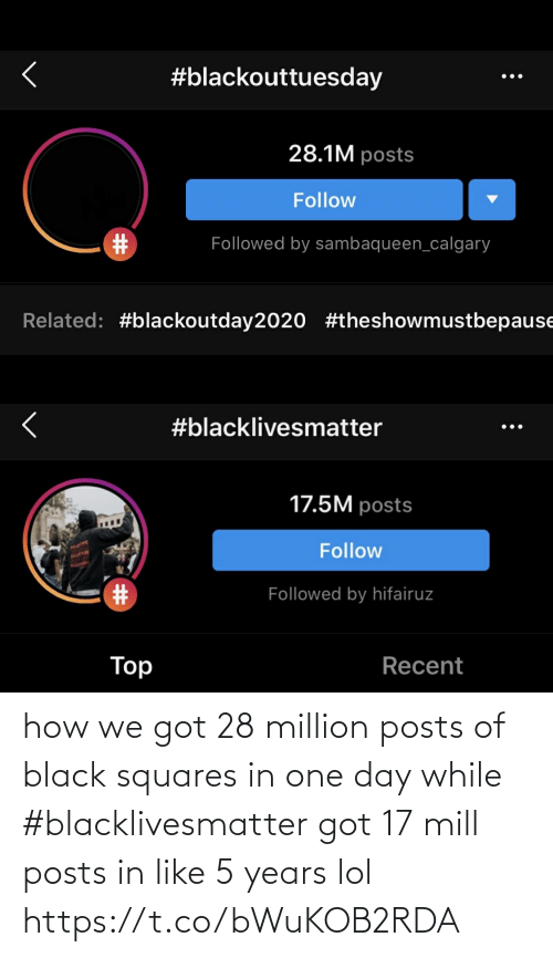 Funny: how we got 28 million posts of black squares in one day while #blacklivesmatter got 17 mill posts in like 5 years lol https://t.co/bWuKOB2RDA