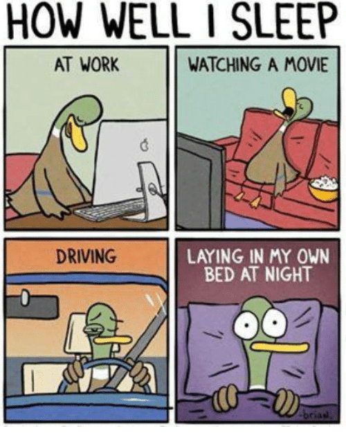 sleeping at work: HOW WELL I SLEEP  AT WORK  WATCHING A MOVIE  DRIVING  LAYING IN MY OWN  BED AT NIGHT