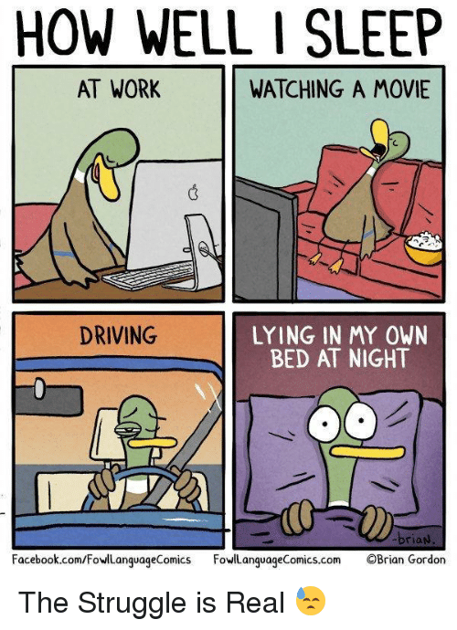 sleeping at work: HOW WELL I SLEEP  AT WORK  WATCHING A MOVIE  DRIVING  LYING IN MY OWN  BED AT NIGHT  Facebook.com/FowlLanguageComics owLanguageComics.com OBrian Gordon