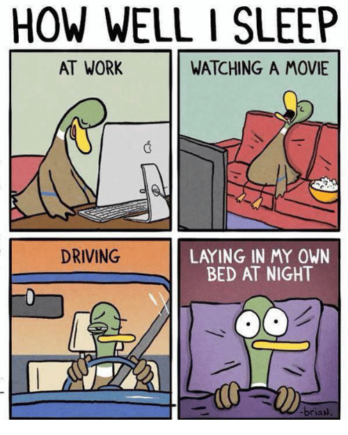 sleeping at work: HOW WELL I SLEEP  AT WORK  WATCHING A MOVIE  LAYING IN MY OWN  BED AT NIGHT  DRIVING  briaw