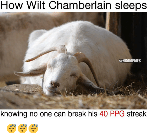 ppg: How Wilt Chamberlain sleeps  @NBAMEMES  knowing no one can break his 40 PPG streak 😴😴😴