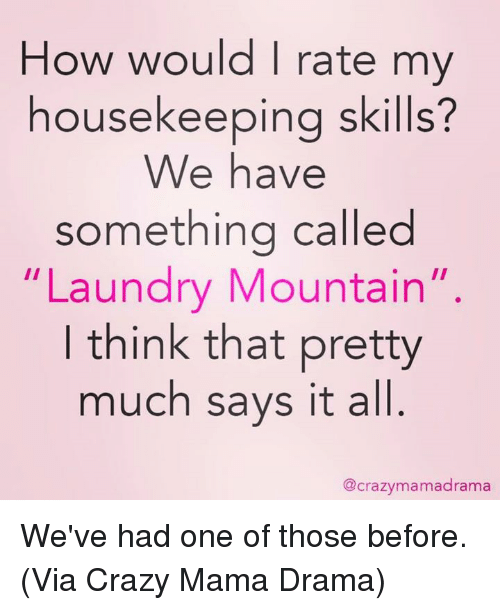 Housekeeping: How would I rate my  housekeeping skills?  We have  something called  Laundry Mountain  II  think that pretty  much says it all  @crazymamadrama We've had one of those before. (Via Crazy Mama Drama)