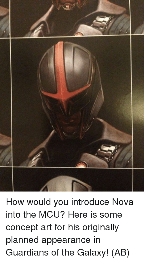 concept art: How would you introduce Nova into the MCU?  Here is some concept art for his originally planned appearance in Guardians of the Galaxy!   (AB)