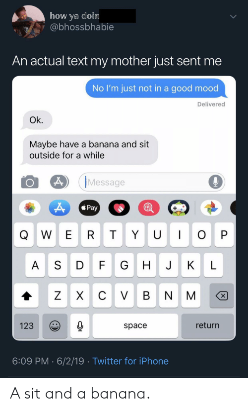 W E: how ya doin  @bhossbhabie  An actual text my mother just sent me  No I'm just not in a good mood  Delivered  Ok.  Maybe have a banana and sit  outside for a while  Message  Pay  U I  W E R  T  O P  A SD  FG  J  К  L  C VBN  ZX  X  return  123  space  6:09 PM 6/2/19 Twitter for iPhone  Y A sit and a banana.