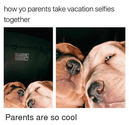 Parents, Yo, and Cool: how yo parents take vacation selfies  together Parents are so cool