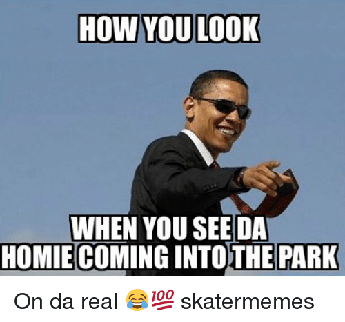 Homie, Skate, and How: HOW YOU LOOK  WHEN YOU SEE DA  HOMIE COMINGINTOTHE PARK On da real 😂💯 skatermemes