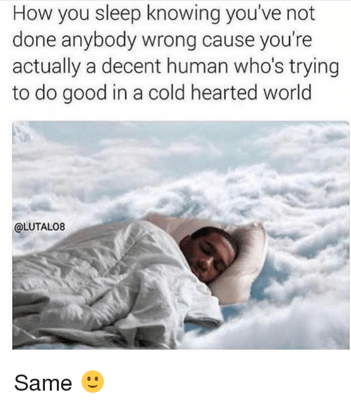 Dank, Good, and World: How you sleep knowing you've not  done anybody wrong cause you're  actually a decent human who's trying  to do good in a cold hearted world  @LUTALO8 Same 🙂