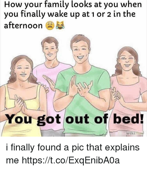 Family, Girl Memes, and How: How your family looks at you when  you finally wake up at 1 or 2 in the  afternoon  You got out of bed i finally found a pic that explains me https://t.co/ExqEnibA0a