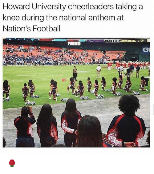 cheerleaders: Howard University cheerleaders taking a  knee during the national anthem at  Nation's Football  CI 🌹