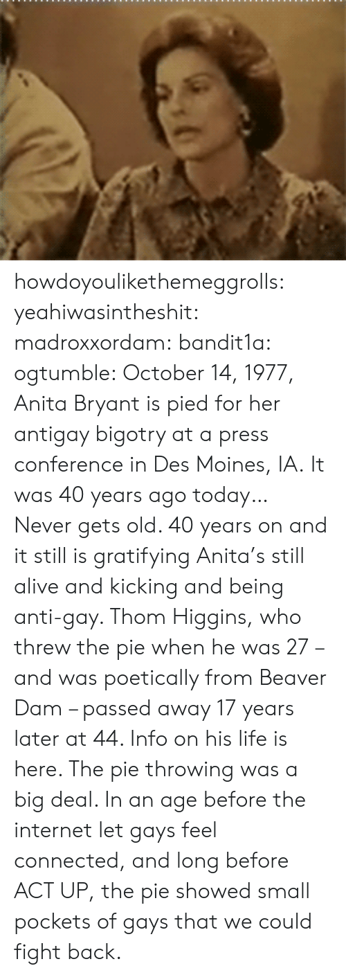 press conference: howdoyoulikethemeggrolls: yeahiwasintheshit:  madroxxordam:  bandit1a:  ogtumble: October 14, 1977, Anita Bryant is pied for her antigay bigotry at a press conference in Des Moines, IA. It was 40 years ago today…   Never gets old.    40 years on and it still is gratifying  Anita's still alive and kicking and being anti-gay. Thom Higgins, who threw the pie when he was 27 – and was poetically from Beaver Dam – passed away 17 years later at 44. Info on his life is here. The pie throwing was a big deal. In an age before the internet let gays feel connected, and long before ACT UP, the pie showed small pockets of gays that we could fight back.