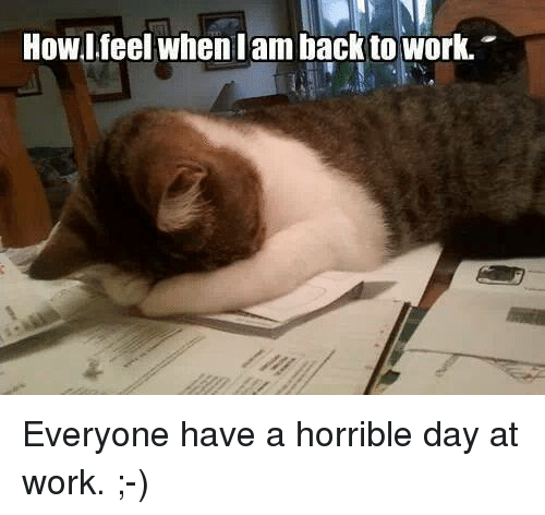 I Am Back: HowI feel when I am back to work. Everyone have a horrible day at work.  ;-)