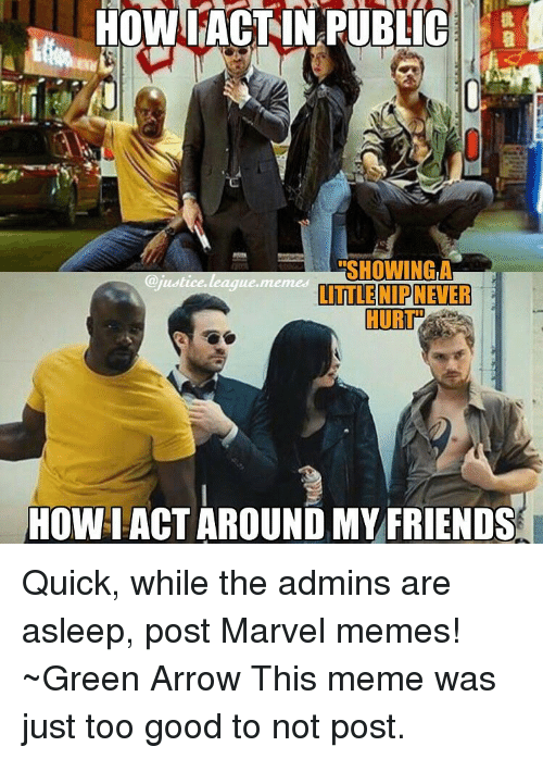 Arrow, Justice, and Justice League: HOWL ACT IN PUBLIC  ERSHOWINGLA  justice league memes  LITTLE NIP NEVER  HOWIACT AROUND MY FRIENDS Quick, while the admins are asleep, post Marvel memes! ~Green Arrow This meme was just too good to not post.