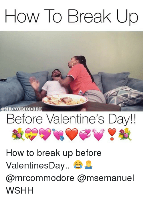 Memes, Valentine's Day, and Wshh: Howlo Break Up  @MRCOMMODORE  Before Valentine's Day!! How to break up before ValentinesDay.. 😂🤷‍♂️ @mrcommodore @msemanuel WSHH