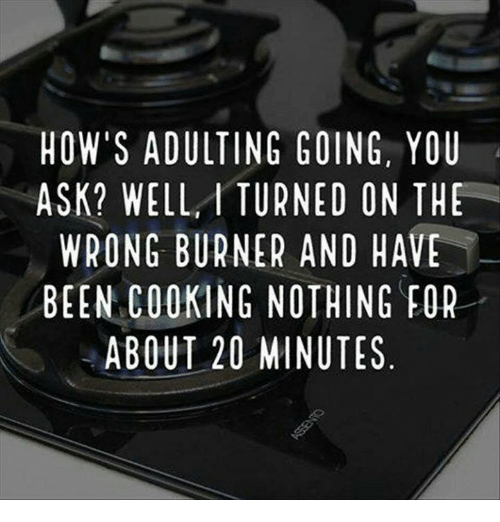 Burners: HOW'S ADULTING GOING, YOU  ASK? WELL, I TURNED ON THE  WRONG BURNER AND HAVE  BEEN COOKING NOTHING FOR  ABOUT 20 MINUTES  UE  0HE  HEO  YT  TVF  NA  HG  GS  GO  NE  ID  DIT  OEIT  GN  ON  GR  RRNM  UE  ITNG  llRN2  UKT  ULBOU  D L  AEG00  WNCB  OS  WE  HA
