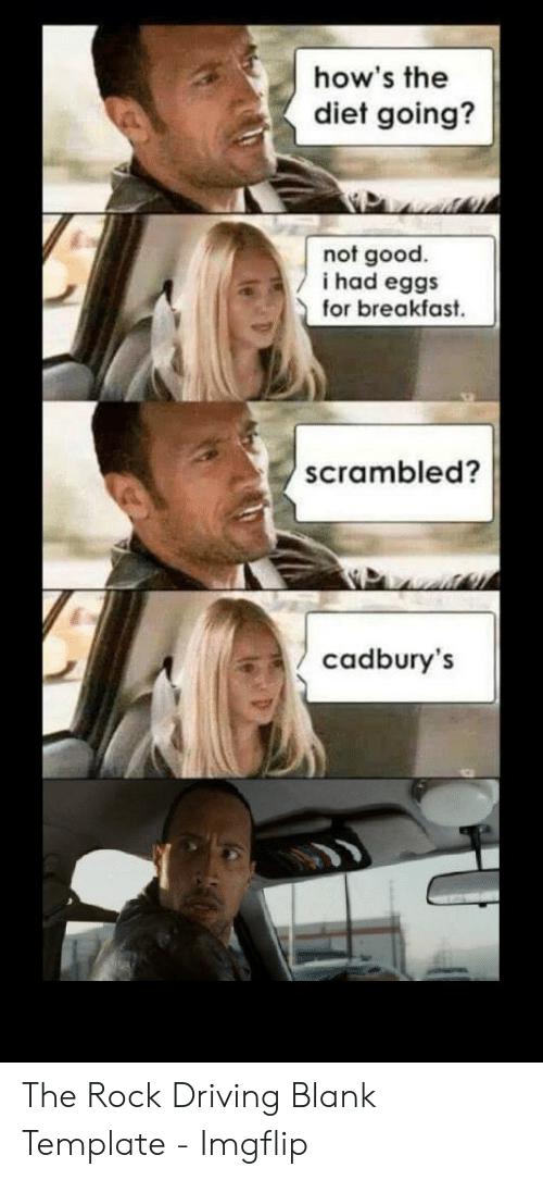 The Rock Meme: how's the  diet going?  not good.  i had eggs  for breakfast  scramble  cadbury's The Rock Driving Blank Template - Imgflip