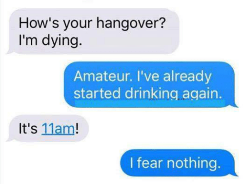 Drinking, Memes, and Hangover: How's your hangover?  I'm dying.  Amateur. I've already  started drinking.again.  It's 11am!  I fear nothing.