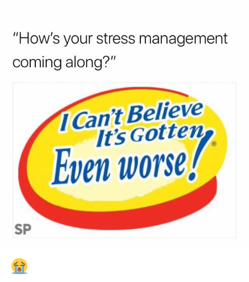 "Stress, Believe, and Management: ""How's your stress management  coming along?""  Can't Believe  It's Gotten  Even worse  SP 😭"