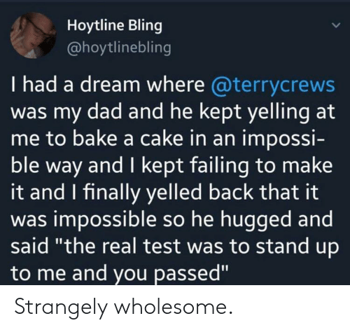 """i had a dream: Hoytline Bling  @hoytlinebling  I had a dream where @terrycrews  was my dad and he kept yelling at  me to bake a cake in an impossi-  ble way and I kept failing to make  it and I finally yelled back that it  was impossible so he hugged and  said """"the real test was to stand up  to me and you passed"""" Strangely wholesome."""
