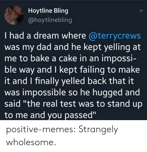 """i had a dream: Hoytline Bling  @hoytlinebling  I had a dream where @terrycrews  was my dad and he kept yelling at  me to bake a cake in an impossi-  ble way and I kept failing to make  it and I finally yelled back that it  was impossible so he hugged and  said """"the real test was to stand up  to me and you passed"""" positive-memes:  Strangely wholesome."""