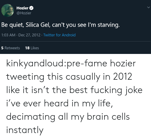 Fucking Joke: Hozier  @Hozier  Be quiet, Silica Gel, can't you see I'm starving.  1:03 AM Dec 27, 2012 Twitter for Android  18 Likes  5 Retweets  > kinkyandloud:pre-fame hozier tweeting this casually in 2012 like it isn't the best fucking joke i've ever heard in my life, decimating all my brain cells instantly