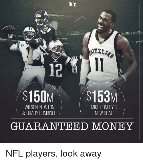 mike conley: hr  $150M $153M  WILSON, NEWTON  MIKE CONLEY'S  NEW DEAL  & BRADY COMBINED  GUARANTEED MONEY NFL players, look away